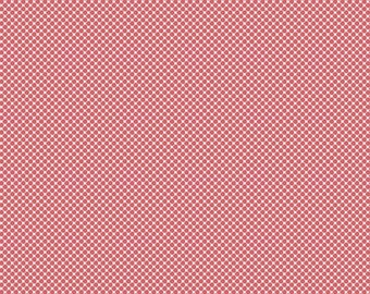 Pink Dot Fabric - Posy Garden Grid Pink - Coral Polka Dot Cotton