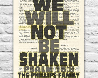 Bible Personalized-We Will Not Be Shaken- Psalm 16:8 art PRINTABLE 8x10 & 11x14 , DIGITAL Download, Family Dictionary page Christian gift