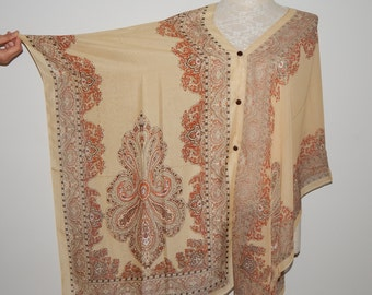 Beige Tan Paisley Bohemian Sheer Swimsuit Coverup Dress One Size Fit All