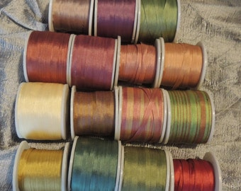 Gorgeous  4mm autumn colors, 5 yards each of 15 colors 75 yards total