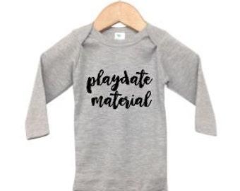 playdate material   long sleeve infant onesie