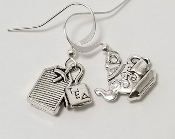 Teapot Earrings, Teapot and Tea Bag Earrings, Gift For Tea Lover, Mismatched Earrings, Tea Time Earrings, Gift For Her