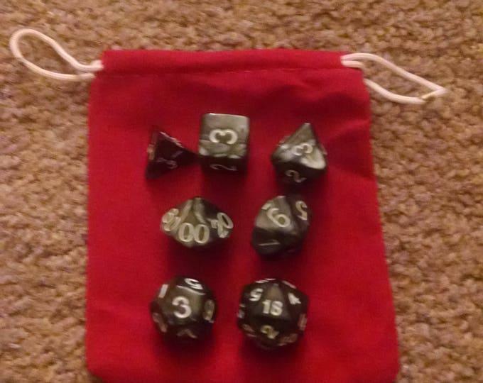 Dwarven Steel - 7 Die Polyhedral Set with Pouch