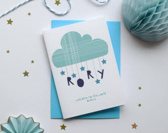 Personalised new baby card Congratulations card New Born Card New baby boy card New baby girl card Blue or Pink Name card Cloud card