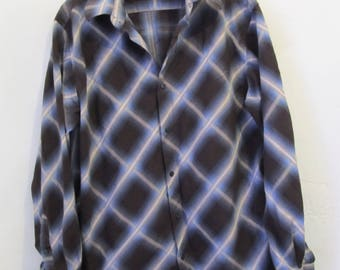 A Men's Vintage 90's,STUNNING Brown & Blue ARGYLE And Windowpane Check Plaid Oxford Shirt By 88.L