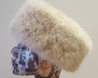 Pale Pink Faux Fur Headband / Neckwarmer / Earwarmer Handmade in Lancashire England