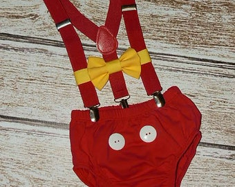 Mickey Mouse Birthday Outfit, Mickey Mouse Cake Smash Outfit, Mickey First Birthday, PLEASE READ LISTING