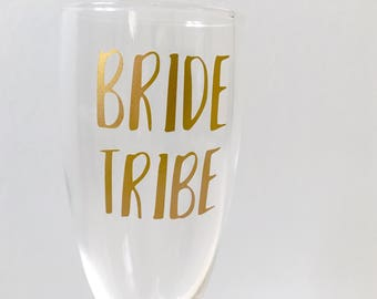 Bride tribe party champagne flutes | Hen party champagne flutes | Wedding glasses | Wedding gifts