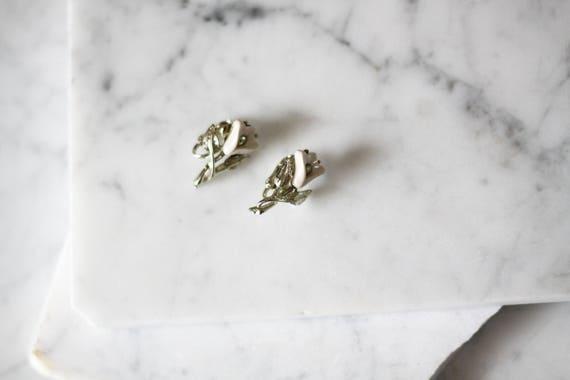 1960s silver flower earrings // 1960s silver tulip earrings // vintage earrings