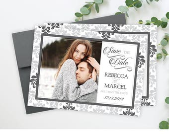 "Elegant Save The Date Cards - 5"" x 7"" Damask Wedding Announcement Cards - Save The Dates - Custom Save the Dates - Photo Cards - #satd-133"