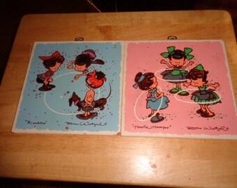 Charming Vintage art work of Marbles and Hoola Hoop Wonderful Retro Children at Play Art