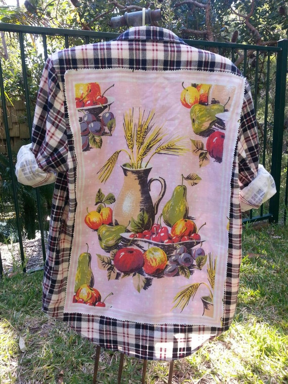 Upcycle Retro Tea Towel Flannel Shirt. Unisex Retro Flannel Shirt. Retro Flowers CGneqCt