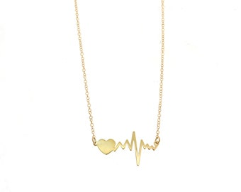 Necklace with electrocardiogram and heart from 30 mm Sterling silver 925 Sterling, hypoallergenic, pink gold plated.