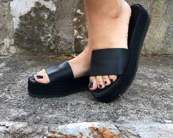 "Black Leather Flatforms ""Gloria"" / Leather Platforms Sandals / Genuine Greek Leather / Rubber Sole / Summer Slippers"
