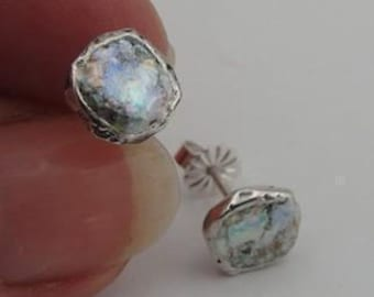 Antique, Elegant 925 Sterling silver Roman Glass stud Earrings, great for gift ! (AS 43)