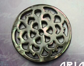 MOTHER OF PEARL: 30mm Black Mother of Pearl Carved Openwork Filigree Floral Component Button (1)