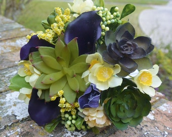 Lemon & Eggplant Succulent Bouquet