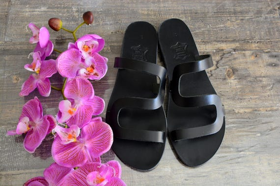 Black Black sandals Slip on sandals sandals leather ''Thasos'' Black sandals slides Greek pq6w0pR