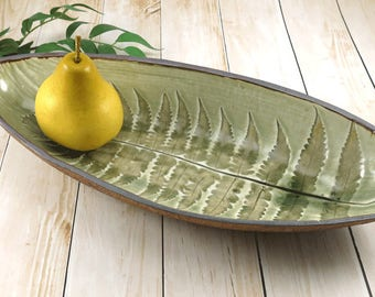 Ceramic Serving Bowl, Handmade Pottery, Botanical Fern Print, Fruit Bowl, Rustic Modern Bowl, Green Bowl, Woodland Decor, Wedding Gift,  595