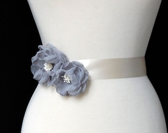 Grey Sash Flowers, Wedding Hair Piece, Bridesmaid Hair Clips, Bridal Accessories - Grey Chiffon