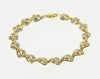"""14K Tri Tone Floral Pattern High Relief Heart Bracelet 7.25"""" Yellow Gold"""