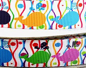 "7/8"" Multi-Colored Whales, Grosgrain Ribbon"