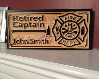 Firefighters retirement gift Custom Personalized Firefighters logo Man Cave Decor, Established Date Sign, Gift for Couple, Wood Plaque