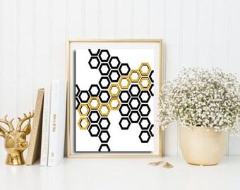 Gold foil print and black, geometric wall hanging, hexagon print, abstract art print, minimalist art, digital art file, wall art printable