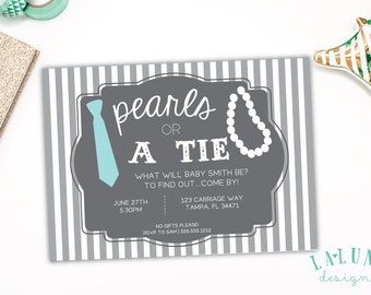 Gender Reveal Invitation, Pearls or Tie Gender Reveal Invite, DIY Printable