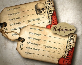 printable halloween Invitation Toe Tags / INSTANT DOWNLOAD/Digital Collage Sheet/ Party supplies