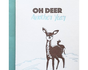 60s birthday card etsy letterpress birthday card funny anniversary card oh deer another year pun punny mid bookmarktalkfo Image collections