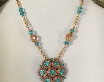 Vintage Pink and Turquoise Blue Rhinestone Fur Clip Necklace