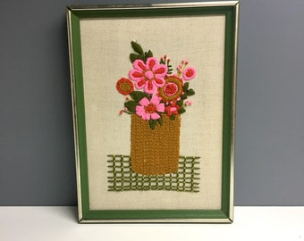 Mod pink flower crewel embroidery - framed 1970s embroidery