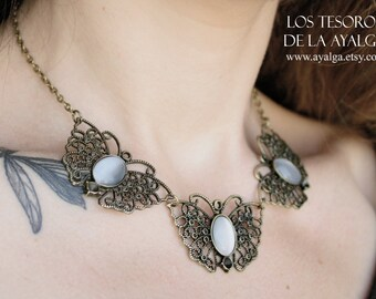 Butterflies necklace- statement jewelry