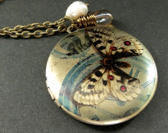 Moth Locket Necklace. Butterfly Charm Necklace with Taupe Teardrop and Fresh Water Pearl. Handmade Jewelry.