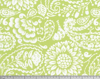 Dena Designs Meadow Meadowlark Green Large Scale floral pastel green and white fabric