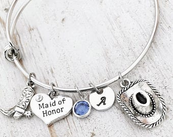 Personalized Bridesmaid Wedding Gift  -Country Rustic Wedding Bridesmaid Charm Bracelet -Thank You Gift for Bridal Party -Choose your Charms