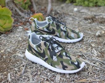 Camo Roshe One - Hand Painted Custom Sneakers - Camo Nike Roshe Run - Custom Camouflage Pattern Nike Running Shoes