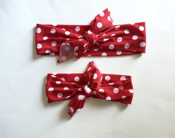 Top Knot Headband Matching Set, Mommy and Me, Headband Set, Red Polka Dot