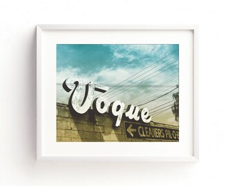 "mid century modern decor, mid century modern wall art, large art, large wall art, vintage sign, retro wall art, vintage neon sign - ""Vogue"""