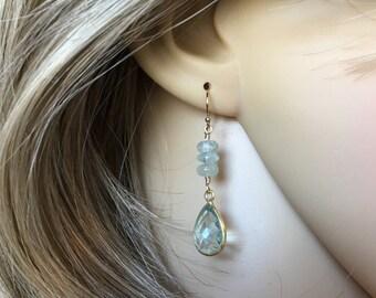 Aquamarine Earrings March Birthstone Bridesmaid Gift for Her Dangle Earrings Gemstone Earrings Anniversary Gift Boho Earrings