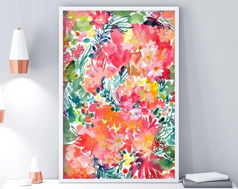 Colourful Wall Art Print Watercolor Floral Wall Decor Boho Botanical Painting Living Room Decor Gift for Her CreativeIngrid