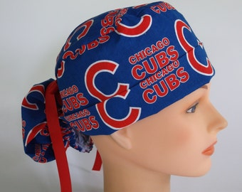 Chicago Cubs Ponytail - Womens lined surgical scrub cap, scrub hat, Nurse surgical cap, F+4270 W
