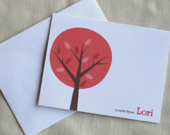 Mod Tree Note Card Set - Personalized Stationery