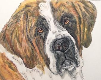 Saint Bernard watercolor original 8x10. St Bernard painting, dog portrait, pet gift, pet portrait, pen and ink, multimedia painting