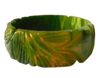 Vintage Hand Carved Green Bakelite Bangle Bracelet