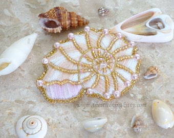 TSK01 - Nautilus Shell Hand Embroidered Brooch/Ornament Kit (Makes 2)
