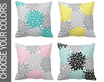 Flower PILLOW, Monogram Throw Pillow, Floral Pillow, Pillow Cover or With Insert, Matching Bedding, Choose Your Colors, Made in USA