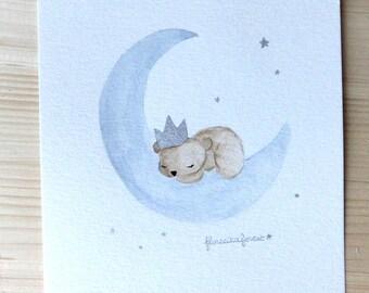 illustration bear sleeping on the Moon