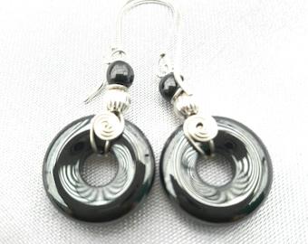 Hematite earrings hematite donut handmade sterling silver drop earrings silver wire wrap healing stones ethnic jewlery boho earrings